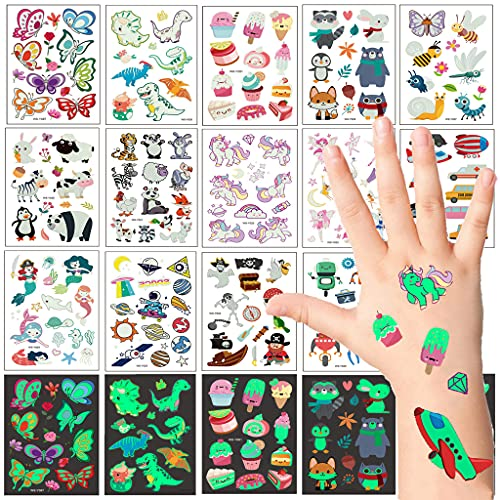 Conruich 14 hojas de tatuajes temporales para niños autoadhesivos decorativos pegatinas de tatuaje dibujos animados de resplandor de animales utilizado para fiestas de cumpleaños infantiles Halloween