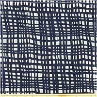 藍染め 生地 白02「格子線」 1m単位で長さが選べる 片面染め 藍染生地 [ロットNo1907]