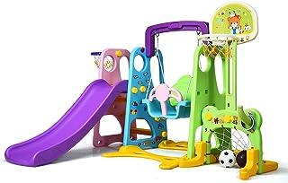 COSTWAY Parque Intantil con Tobogán,Columpio y Canasta Baloncesto Centro de Juegos para Niños para Jardín Hogar Exterior Interior