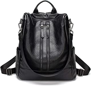 XUAN YUAN Backpack - Women's Fashion Versatile PU Leather Backpack, College Leisure Travel Multi-function Large-capacity Package, A4 File Computer IPad Briefcase backpack