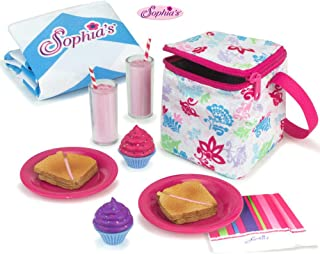 Sophia's Doll Food Picnic Playset of 12 Pieces, Thermal Cooler, Matching Picnic Blanket, 2 Pink Lemonade Glasses, 2 Plates, 2 Napkins, 2 Ham Sandwiches & 2 Cupcakes Perfect for 46cm American Dolls