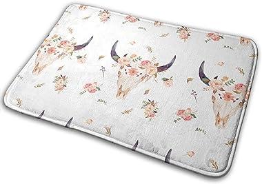 Pink Tribal Bison with Florals Carpet Non-Slip Welcome Front Doormat Entryway Carpet Washable Outdoor Indoor Mat Room Rug 15.