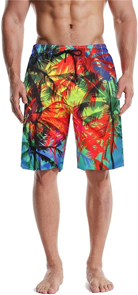 DIOMOR Mens Fashion Hawaiian Style Quick Dry Swim Trunks Knee Length Drawstring Beach Shorts Elastic Waist Bathing Suit