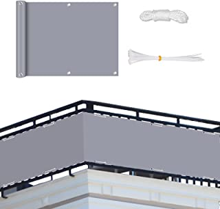 Neween Grey Balcony Screen Privacy Fence Cover, 75x300cm Privacy Screen Balcony Shield Shade Net Cover with Ropes & Cable ...