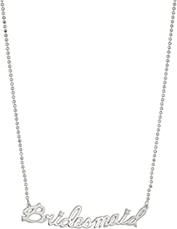Betsey Johnson Blue by Betsey Johnson Silver Tone Delicate Necklace Chain and 'Bridesmaid' Pendant with CZ Stone Accent