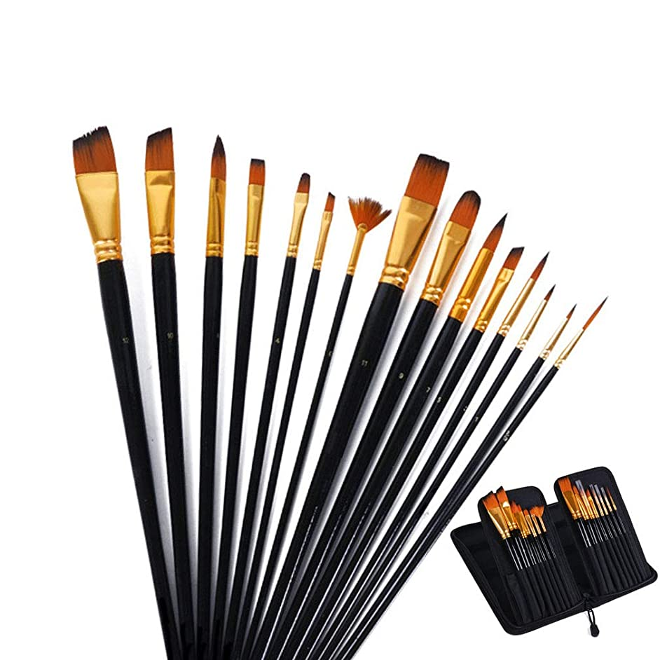 KEWAYO 15pcs Paint Brushes Set, Different Shapes & Sizes, Professional Fine Tip Paint Brush Set Round Pointed Tip Nylon Hair Brush, for Body Paint, Acrylics, Oil & Watercolors Painting