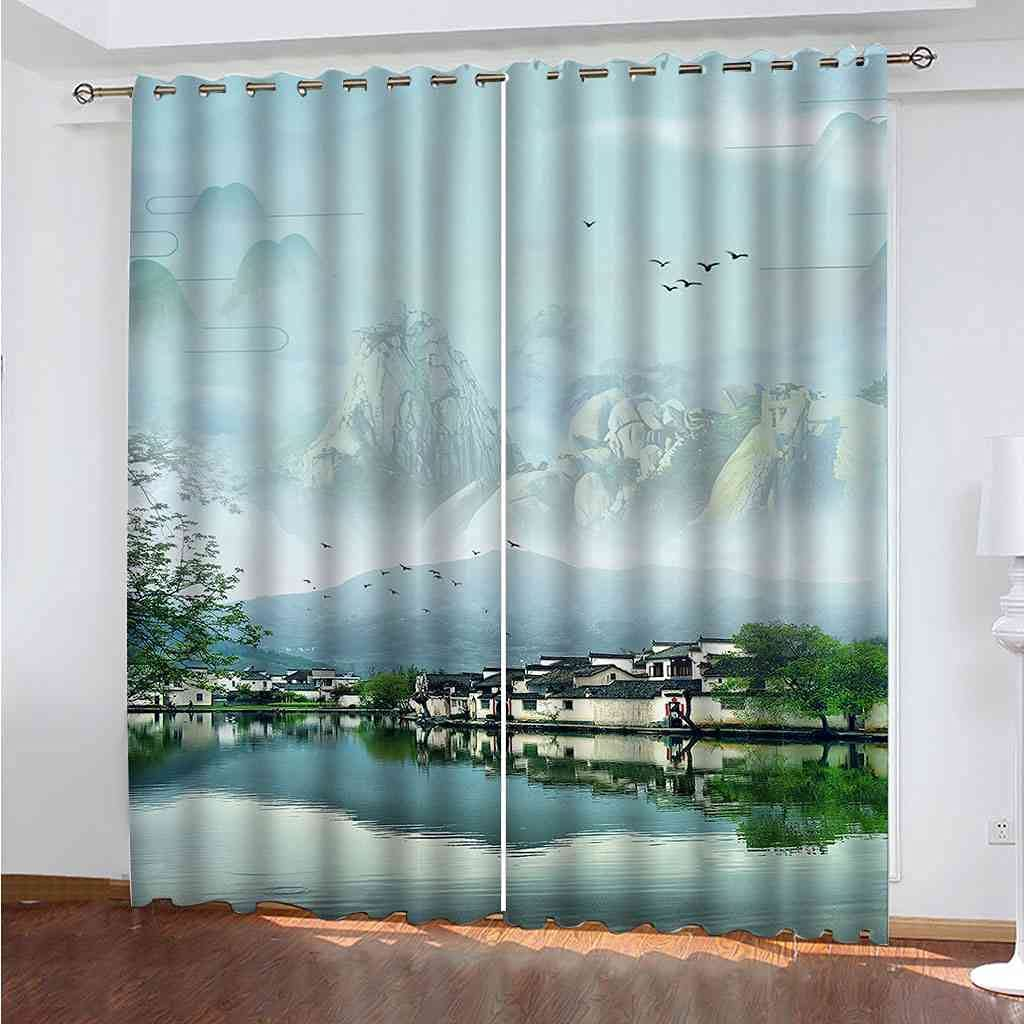 DSVNNZ Printing Blackout Max 78% OFF Curtains Detroit Mall for W Bedroom Panel 2 Jiangnan