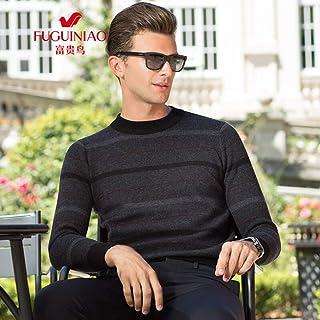 富贵鸟男士羊毛衫圆领套头中年男装秋冬加厚爸爸装毛衣针织衫加厚