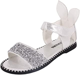Naimo Girl's Shiny Rhinestone Sandals Cute Rabbit Heel Shoes Open Toe Ankle Strap Dress Flat Sandals