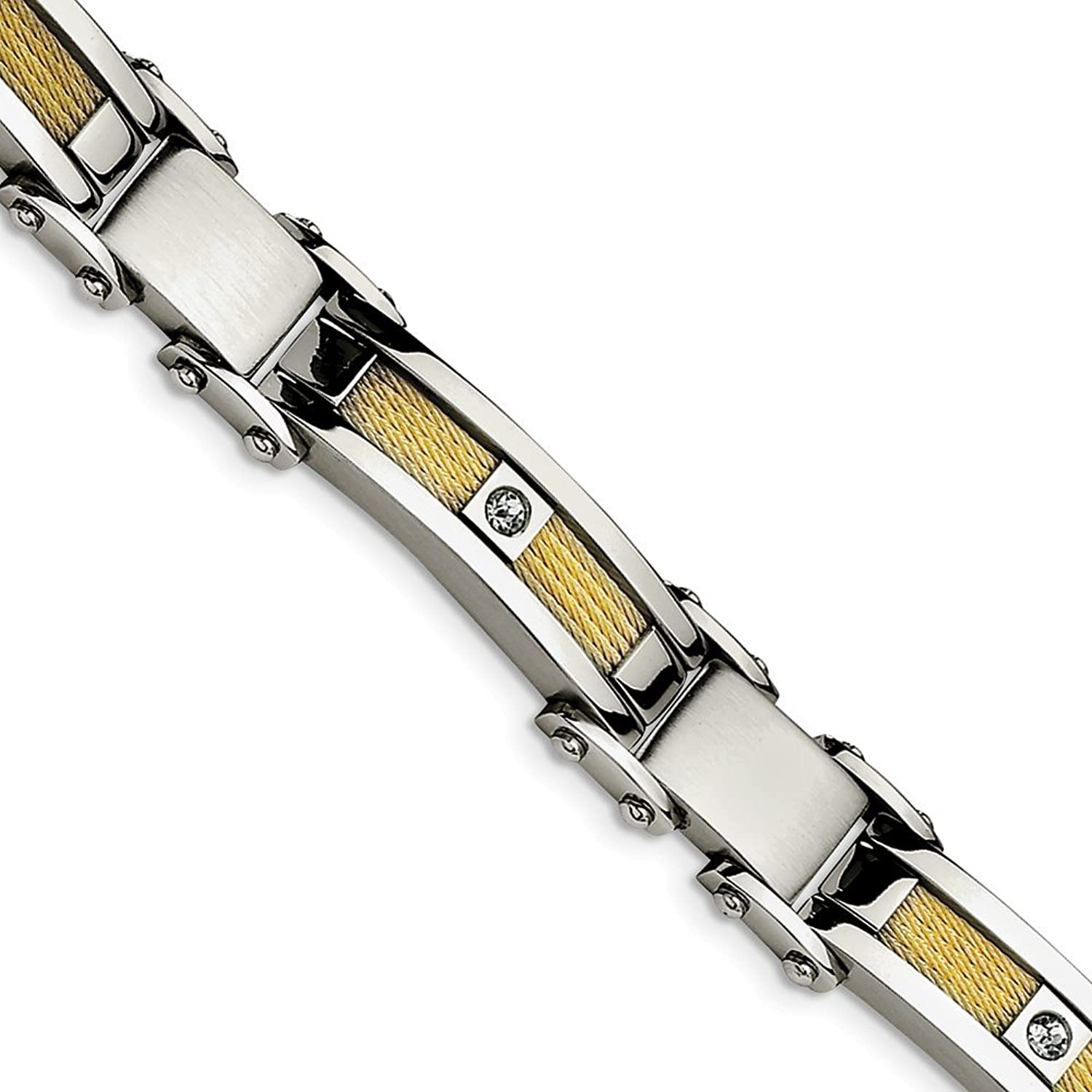 Beautiful Stainless Steel Yellow IPPlated Cable with CZs Bracelet