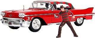 New DIECAST Toys CAR JADA 1:24 W/B - Metals - Hollywood Rides - Nightmare ON ELM Street - 1958 Cadillac Series 62 with Freddy Krueger Figure 31102