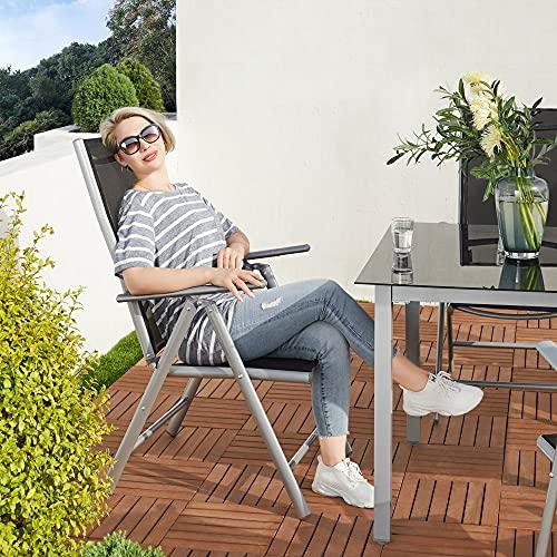 Deuba Sitzgruppe Bern 8+1 Aluminium 7-Fach verstellbare Hochlehner Stühle Tisch mit Sicherheitsglas Silber Garten Set - 6