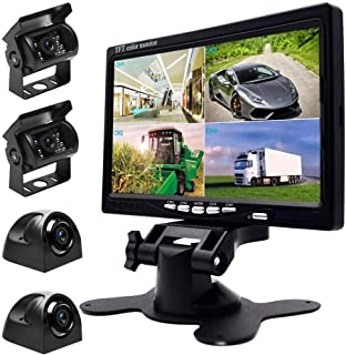 UNITOPSCI Waterproof Car Backup Camera Kit with 7 Inch HD Quad Split Monitor + 18 IR LED Night Vision Front Rear Side View Cameras and 33ft AV Cables, Mirror/Normal Image