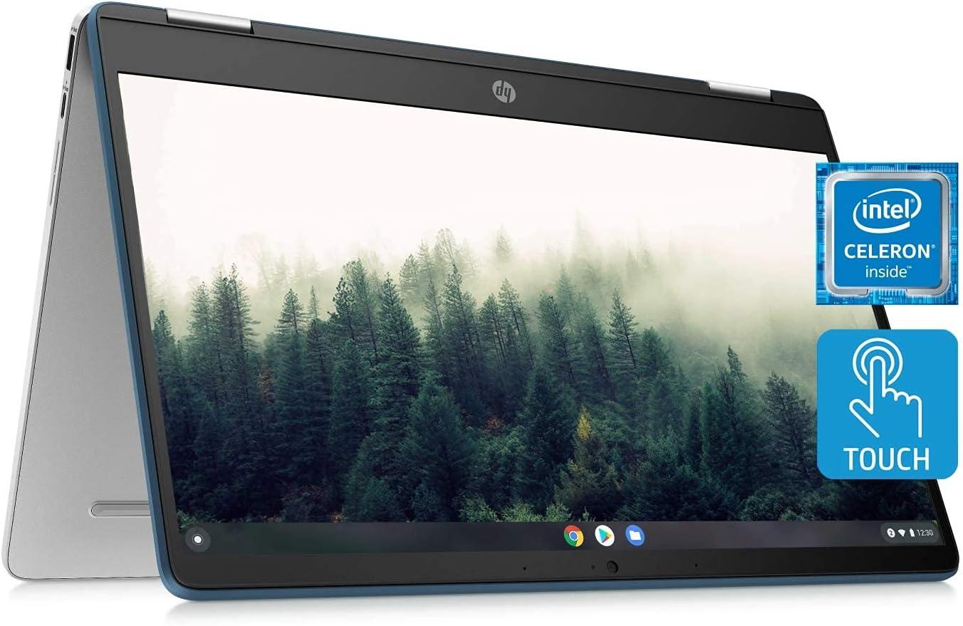 2021 HP Chromebook x360 14a Laptop - Dual Core Intel Celeron N4020 - 4 GB RAM - 32 GB eMMC Storage - 14-inch HD Touchscreen - Google Chrome OS -Lightweight and Long Battery Life(Renewed)