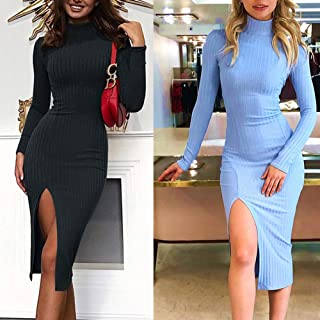 Therecoe86 Women Casual Formal Dress,Solid Color Turtle Neck Ribbed Side Splitting Bodycon Midi Dress - Light Blue S