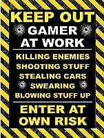 GAMER AT WORK 金属板ブリキ看板警告サイン注意サイン表示パネル情報サイン金属安全サイン