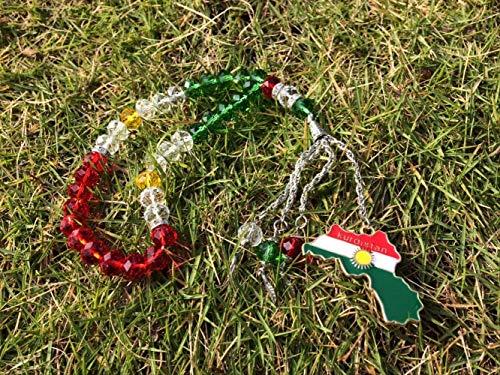 n a Kurdische Flagge Schmuck Halskette Gebet Perlen Koerdische Tasbih Kurdistan Karte Kurde Home Office Hängen Tesbih Tespeeh Kurdische
