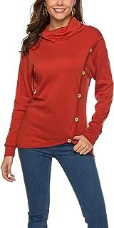 ORMAY Women's Long Sleeve Cowl Neck Top Shirt Button Fall Tunic Tops Blouse