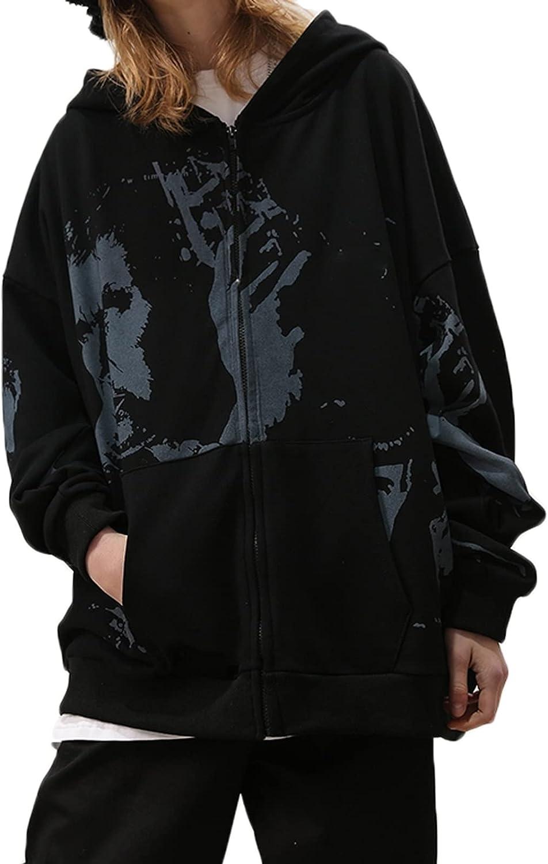 Women Y2K Vintage Oversized Zip Up Hoodie Sweatshirt Face Portrait Gothic Grunge Aesthetic Hoodie Jacket 90s Streetwear