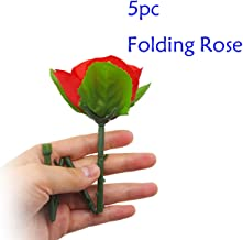 WSNMING 5 Pcs Folding Appearing Rose Flower Magic Tricks Toys Accessories Props for Stage Bar Party Home Shows Street