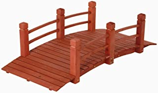 5 ft (59 in) Wooden Garden Bridge / Garden Stream Yard Walkway w/ Double Rails Product SKU: GD04211