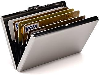 RFID Credit Card Holder Slim Card Wallet Metal ID Card Case Business Card Holder for Women or Men - silver - S