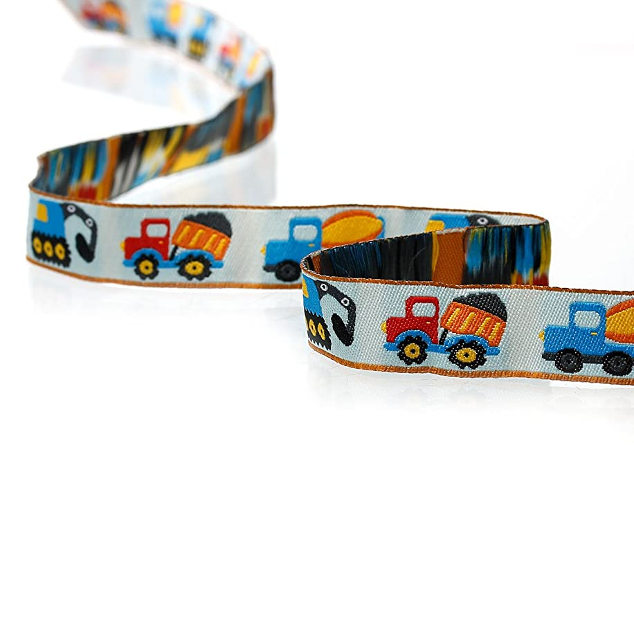 PEPPERLONELY 2 Meter Excavator Transport Cars Printed Embroidered Woven Label Ribbon 16mm (5/8 Inch)