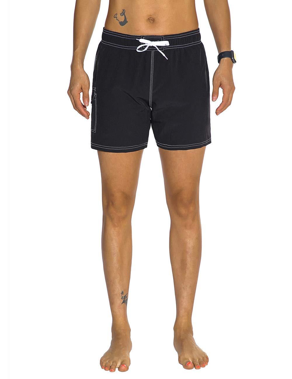 Nonwe Womens Swim Trunks Quick Dry Solid Summer Beach Shorts Mesh Lining