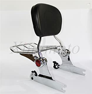 NBX- Backrest Sissy Bar Luggage Rack For Compatible with Harley Davidson Softail Deluxe 2005 Up Chrome