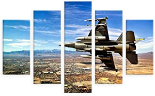 Alonline Art - Jet Fighter In The Sky by Split 5 Panels | print on high quality fine art photo paper poster (Rolled) | 53