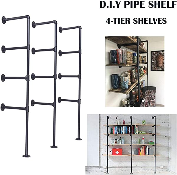 VINTAGELIVING Rustic Floating Pipe Shelves Wall Mounted Ceiling Hanging Bracket 56 Inch Industrial 4 Tier Shelving Loft 3pcs DIY