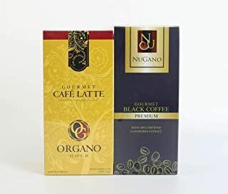 1 Box (20 sachets) 100% Certified Organic Ganoderma Gourmet Organo Gold Cafe Latte + 1 Box (30 sachets) Nugano 100% Natural Beans Black Coffee +