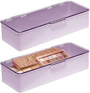 mDesign Wide Makeup Storage Organizer Box for Bathroom Vanity, Countertops, Drawers - Holds, Eyeshadow Palettes, Lipstick, Lip Gloss, Makeup Brushes - Hinged Lid, 3
