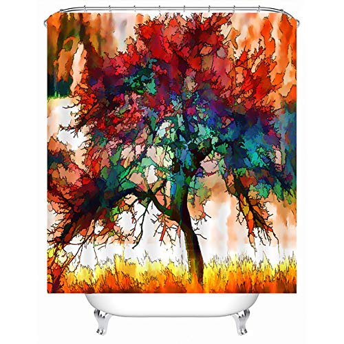 QJXX Aquarell Baum Duschvorhang 3D Wirkung Anti-Schimmel Anti-Bakteriell Umweltfre&lich Waschbar Für Bad Badezimmer,B,180 * 200Cm