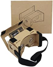 Google Cardboard, 3D VR Headset Virtual Reality Glasses Box with Big Clear 3D Optical Lens and Comfortable Head Strap Nose Pad for Most Smartphones, for Kids to Assemble it
