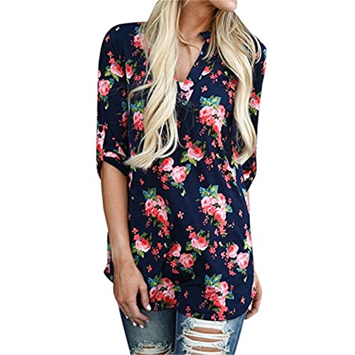 bfcfc8b702c Womens Tops Floral Print Blouses T Shirts Casual Loose Tunic