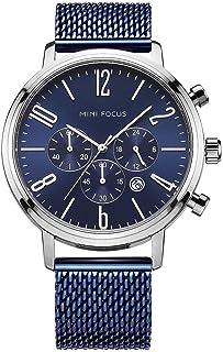 Mini Focus Montre-Bracelet d'affaires Homme Multifonctionnelle de 12/24 Heures de Mode de Quartz de Bande de Maille d'acie...