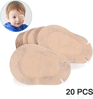 ewinever(R) 20Pcs Amblyopia Eye Patch For Glasses,Treat Lazy Eye and Strabismus for kids,Adhesive Eye Pad Bandages(Beige)