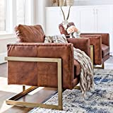 Edloe Finch Gustaaf - Modern Leather Accent Chair Lounge Chair Living Room - Cognac Brown