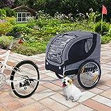 PawHut Hundeanhänger Fahrradanhänger Hunde Fahrrad Anhänger Grau - 2