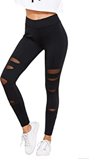 SweatyRocks Women's Legging Mesh Insert Ripped Tights Yoga Slim Pants