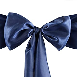 Set of 10 Chair Decorative Satin Sashes Bow Designed for Wedding Events Banquet Home Kitchen Decoration (Navy Blue)