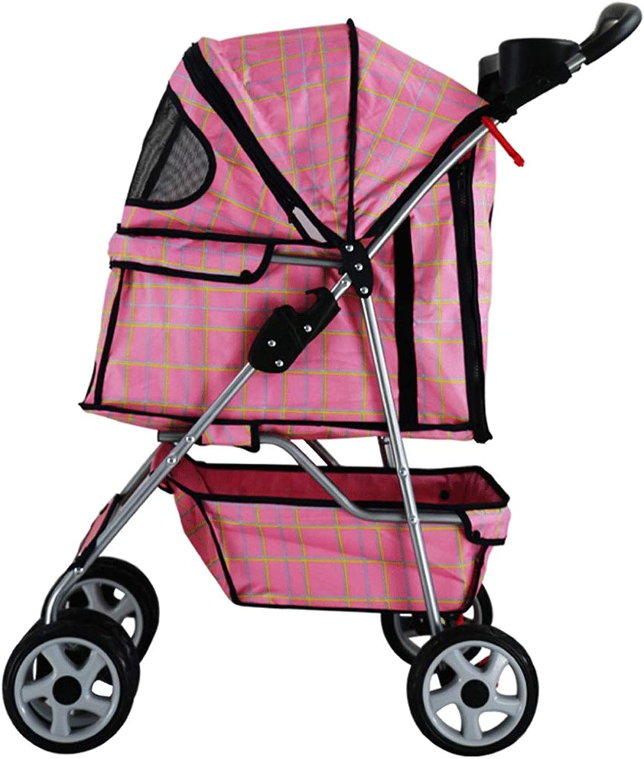 HAOCAI Pet Stroller With Wheel Portable Folding Cat And Dog Universal Outdoor Travel Pet Carrier, With Storage Basket  3 colors (color   B)