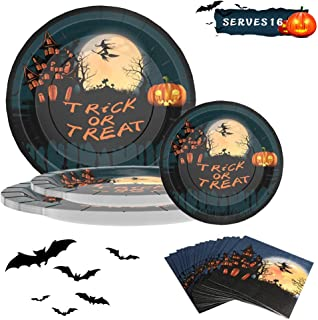 Halloween Paper Plates and Napkins,Halloween Table Decorations, Halloween Party Supplies Set,Includes 9'' Dinner Plates ,7'' Dessert Plates, Napkins, for Halloween Decorations and Parties,Serves 16