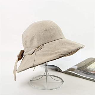 ZWHMZ Spring and Autumn New Cotton Fisherman Hat Korean Bow Japanese Ridiculous Hat Big Hat Casual Sun Hat (Color : Khaki, Size : One Size)