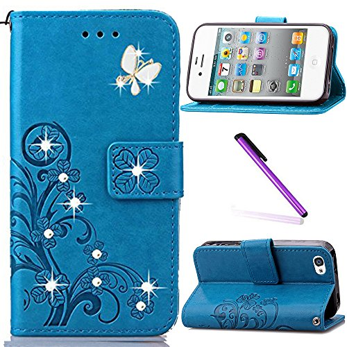 iPhone 5C Case,LEECOCO 3D Bling Crystal Diamonds Lucky Clover Floral with Card Slots Flip Stand PU Leather Wallet Case for iPhone 5C with 1 x Stylus Pen Diamond Clover Blue