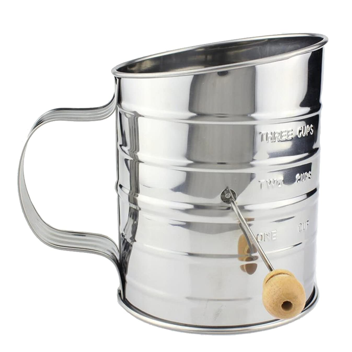 Tosnail 3-Cup Stainless Steel Hand Crank Flour Sifter