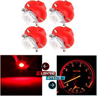 cciyu 4X T5 B8.4D 5050 LED SMD Red Dash Auto Dash Gauge Instrument Panel Light Bulb/BMW E32 E34 E36 Dash Gauge Instrument LED Replacement fit for Dashboard Gauge Indicator Instrument Speedometer