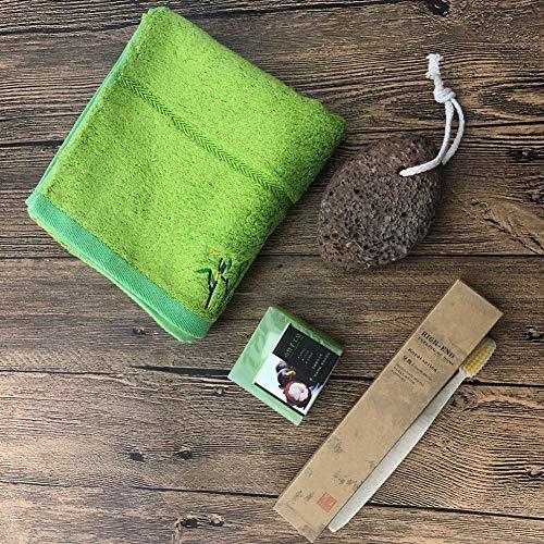 SPA Eco Friendly Gift Box, soins personnels beauté éthiques Produits naturels, bambou Toothbrushe, fibres de bambou vert serviette, savon de karité brossé, pierre ponce, 4PCS