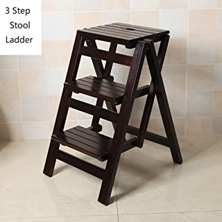Kitchen Wooden Ladders Small Foot Stools Wood Folding Step Stool for Adults & Kids Indoor Folding Stepladder Portable Shoe Bench/Flower Rack (Color : Black, Size : 3 Tiers)